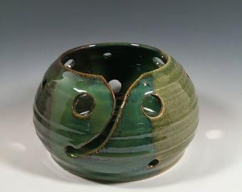 Yarn Bowl - Ocean Green - READY TO SHIP- ceramics - pottery - stoneware