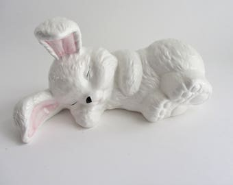 Vintage Ceramic Bunny White Pink Ears Laying Down Bunny Taiwan