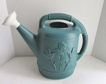 Vintage Watering Can Large Plastic Teal Green Embossed Floral Design Rainshower Spout