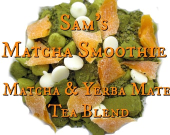 Sam's Matcha Smoothie - Matcha & Yerba Mate Tea Blend - loose leaf tea, mango, coconut, vanilla, Supernatural inspired tea, fandom tea