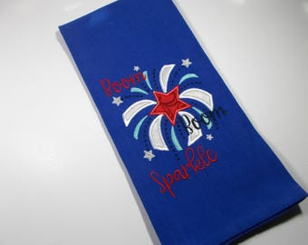 Embroidered Towel - Kitchen Towel - July 4th - Fireworks -  10 dollar gift - Home of the brave -  Kitchen Towel - 4th of July Decor -  gift