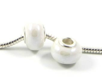 3 Beads - White Pearl Porcelain Silver European Bead Charm E0511