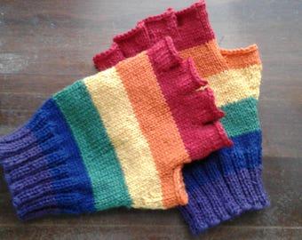 Rainbow Fingerless Gloves