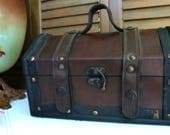 Leather Treasure Chest Box With Handle and Latch Unlined Trinket Box  Carry Case  Storage Case  Studded Handbag