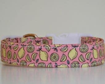 Lemons Pink Yellow Dog Collar Dog Collar Wedding Accessories Made to Order