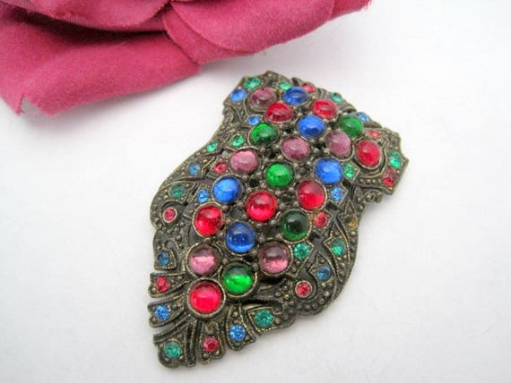 Art Deco Dress Clip -  Multicolor Rhinestone -  Glass Cabachon Pin
