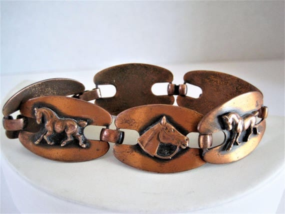 Copper Horse Bracelet, Wide Copper Links, Equestrian Favorite