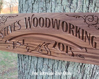 Custom Workshop Sign, Personalized Man Cave Sign, Gift for Him, Benchmark Custom Signs, Walnut WS