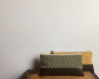 Dots Zipper Pencil Case, School Supplies, Olive Green, Mustard Yellow, College Gift, Kids School Pouch, Faux Leather bag, Cute Pencil Pouch