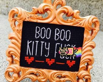 Mini Rose Gold Baroque Framed Cross Stitch - Boo Boo Kitty F*ck