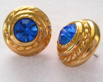 "SWAROVSKI Rhinestone Button Earrings.  Sapphire Blue Crystal Rhinestones in a Domed  Wire Twist Design Gold Button Earring.  3/4"". Studs"