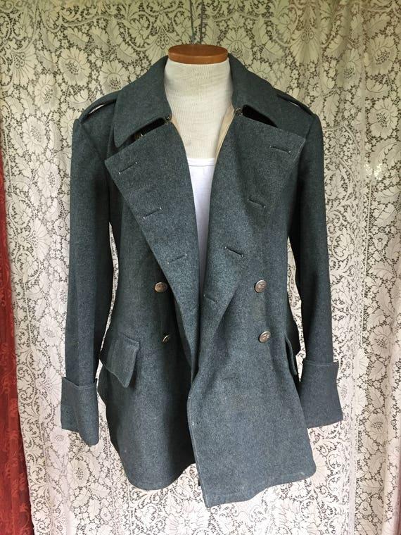 Authentic 1950s Wool Swiss Military Coat Slate Grey Mens