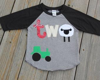Farm Second Birthday Party Shirt, Barnyard Birthday Shirt, Second Birthday Shirt, Grey Sheep Shirt, Farm Life