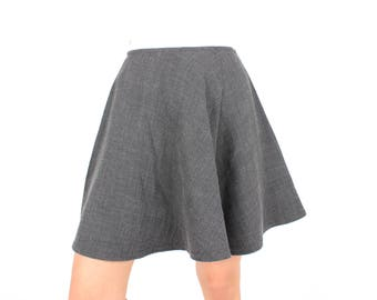 90s DNKY Slate Grey Minimal High Waisted Flared Skater Circle Mini Skirt