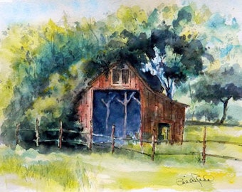 Sale Overgrown Barn - watercolor original art barnyard barn painting gift