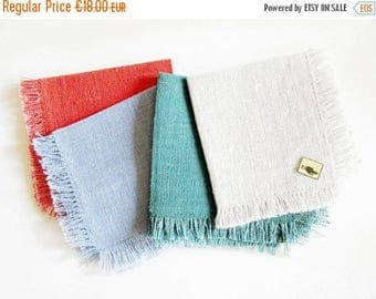 SUMMER SALE - Set of 4 Vintage Woven Linen Napkins with Frindges, Retro Mid Mod Modern Design, New and unused, made in the 70s
