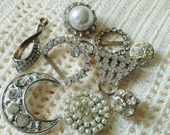 9 Rhinestone Findings, Mixed Lot, Jewelry