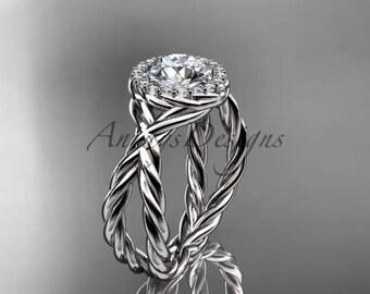 14kt white gold diamond rope engagement ring RP889