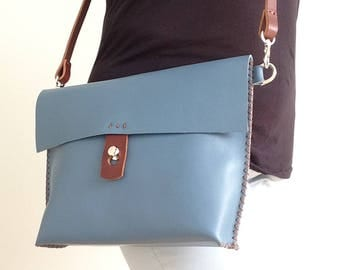 Handstitched in UK med blue small medium size smooth leather crossbody bag with brown zig zag stitch and brown strap