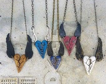 Winged Heart Pendants