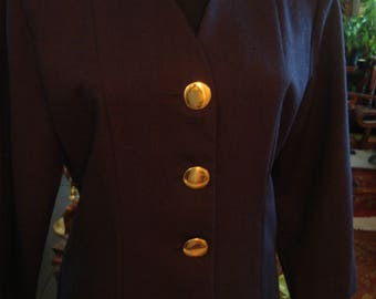 Vintage Classic Black Dress with Large Gold Buttons