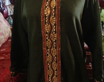 Vintage 1980 Dark Green Boho Chic Afghani Dress