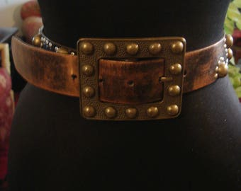 Vintage 1990s Brown Boho Gypsy Faux Leather Stud Belt with Square  Stud Buckle