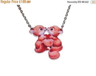 Kawaii Squirrel Necklace, Cute Vintage Animal Pendant, Woodland