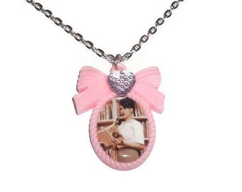 Kathleen Hanna Necklace, Bikini Kill, Le Tigre Pink Cameo Necklace, Feminism Riot Girl