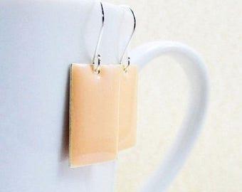 40% OFF Dangle Drop Earrings - Pastel Peach Epoxy Enamel Rectangles - Sterling Silver Plated over Brass (F-7)