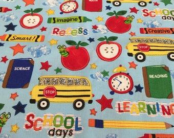 "School - Teacher - Classroom Themed Fabric 34"" x 44"""