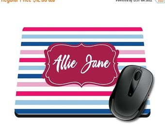 ON SALE NOW Striped Personalized Printed Mouse Pad / Office Accessories / Desk Accessories / Mousepad / Girly Mousepad / Teacher Mousepad