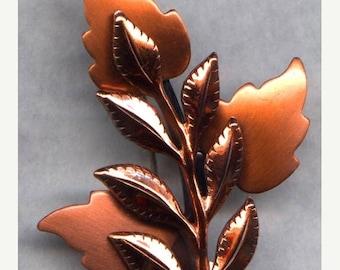 15% OFF SALE RENOIR Copper Brooch   Design   Laurel Leaf     Item No: 5538