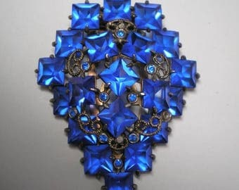 15% OFF SALE Blue Square Rhinestones  Dress Clip   Item No: 16578