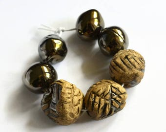 African beads, 7  stoneware beads, textured beads, stone beads, cream beads,  artisan beads, copper lustre beads, art beads, made in Africa