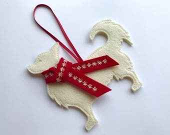 Long Haired Chihuahua Dog Christmas Decoration, tree decoration