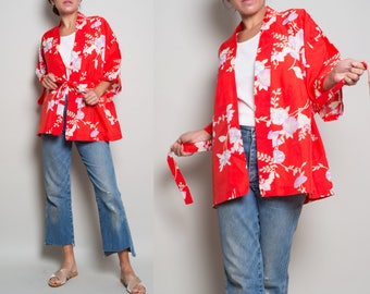 1980s// Red Asian Floral// Short Robe Jacket// OSFA