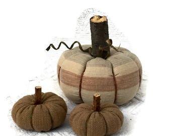 Rustic Thanksgiving Home Decor, Fabric Stuffed Pumpkins, Fall Decor, Pumpkin Decor, Rustic Halloween Decor - set of 3