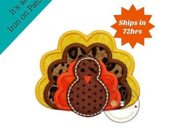 ON SALE NOW Small fall turkey- iron embroidered fabric applique patch embellishment- ready to ship