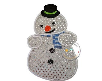 ON SALE NOW Sparkling snowman- iron on embroidered fabric applique patch