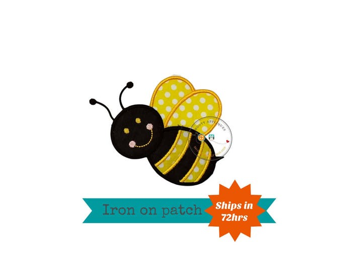 bumble bee iron on patch, bright yellow and black machine embroidered heat press patch for clothing, quick shipping appliques, pre-made