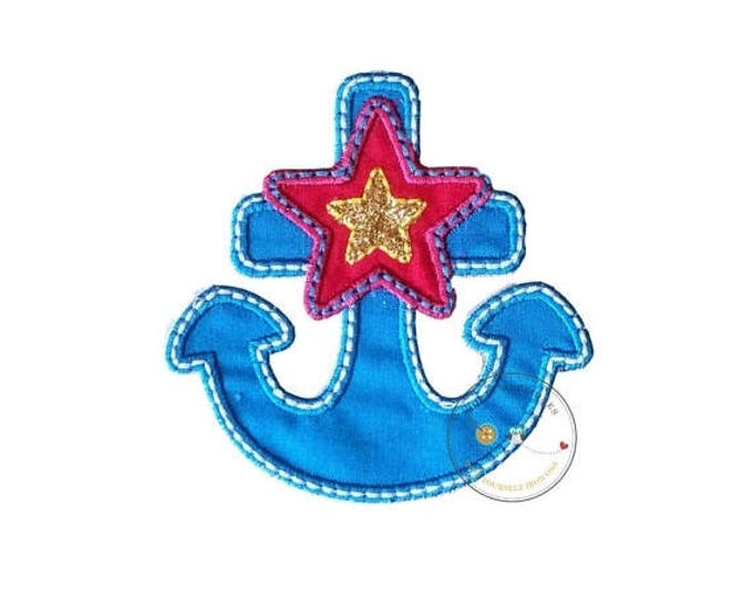 ON SALE NOW Blue, pink and gold nautical anchor iron on applique, nautical summer no sew patch ready to ship