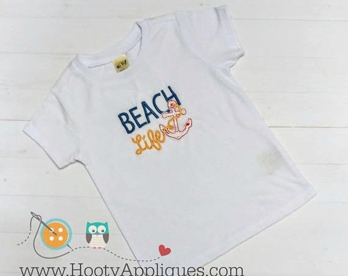 ON SALE NOW Beach life embroidered tee shirt for boys and girls- boutique style summer top- blue, yellow and red