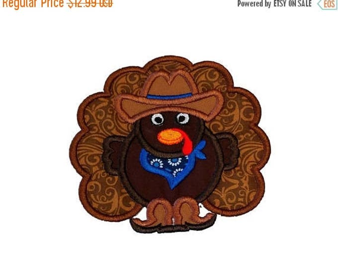 ON SALE NOW Cowboy turkey fabric iron on applique- Western Thanksgiving turkey no sew embroidered patch- ready to ship