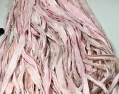 10 yd Recycled Sari Silk Ribbon Blush Pink Tassel Ribbon Dreamcatcher Jewelry Fair Trade Felt Knit Crochet Fiber Art  Supply