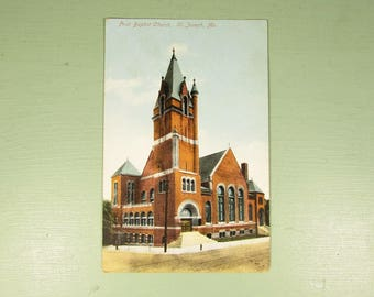 First Baptist Church St Joseph Postcard - Vintage Red Brick No Postage
