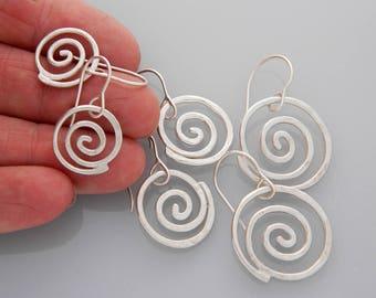 Spiral jewelry, silver jewelry- silver spiral earrings, small spiral earrings, swirls