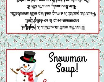 Snowman Soup Treat Bag Topper - Printable File - Instant Download / Snowman Soup Favor / Snowman Soup Printable