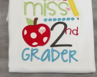 Little Miss any grade  appliqued school shirt