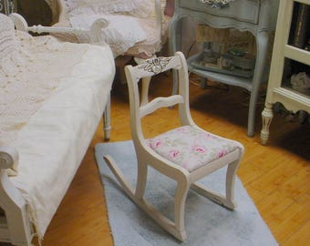 Vintage Childs Rocker Painted Shabby Chic Upholstered French Country Charm